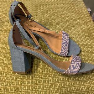 Sandal- block heel jean linen